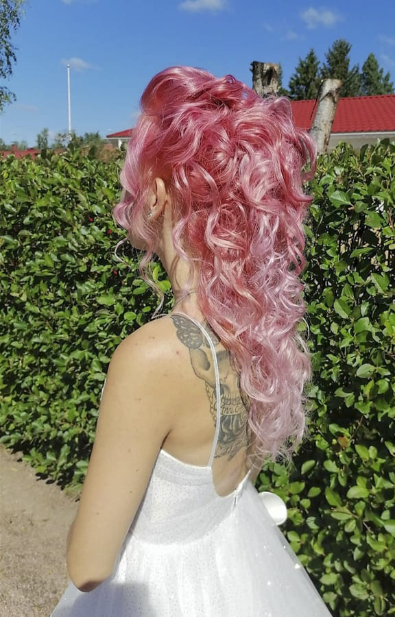 pink Curly hairstyles for long hair for wedding