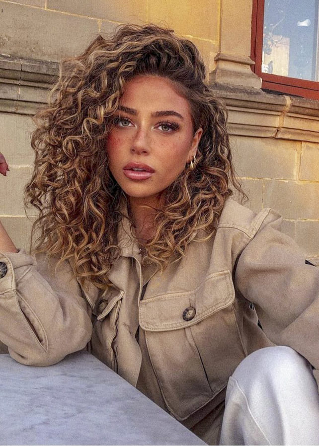 brown Curly hairstyles for long hair simple
