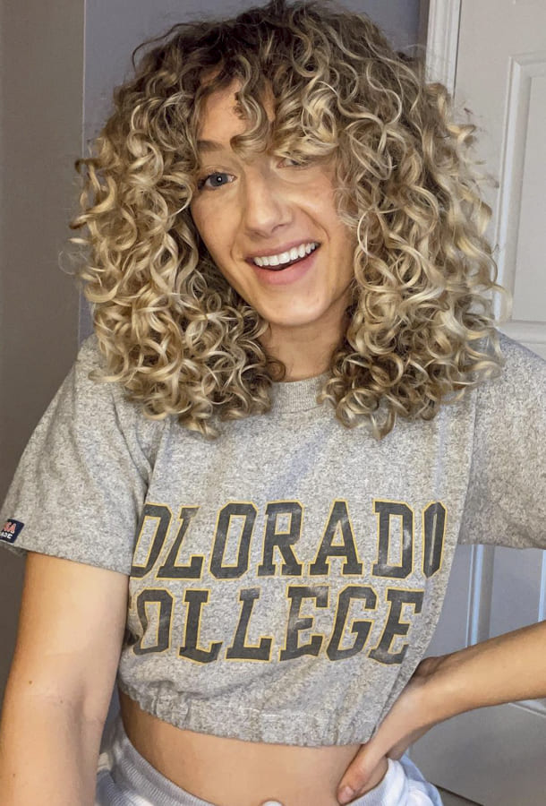 blonde Curly hairstyles for long hair with bangs
