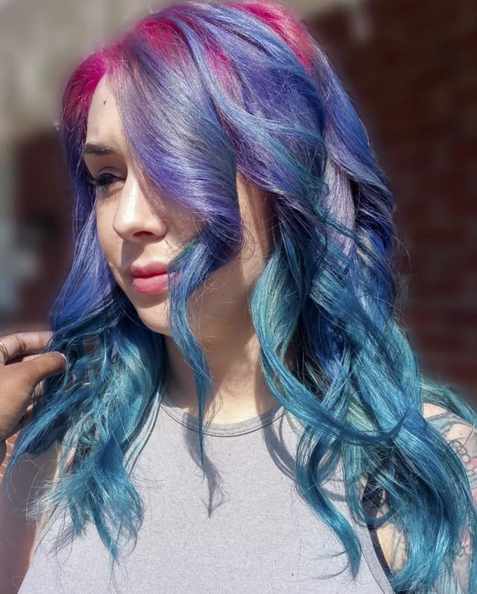 Curly wavy meddium green purple ombre hairstyles
