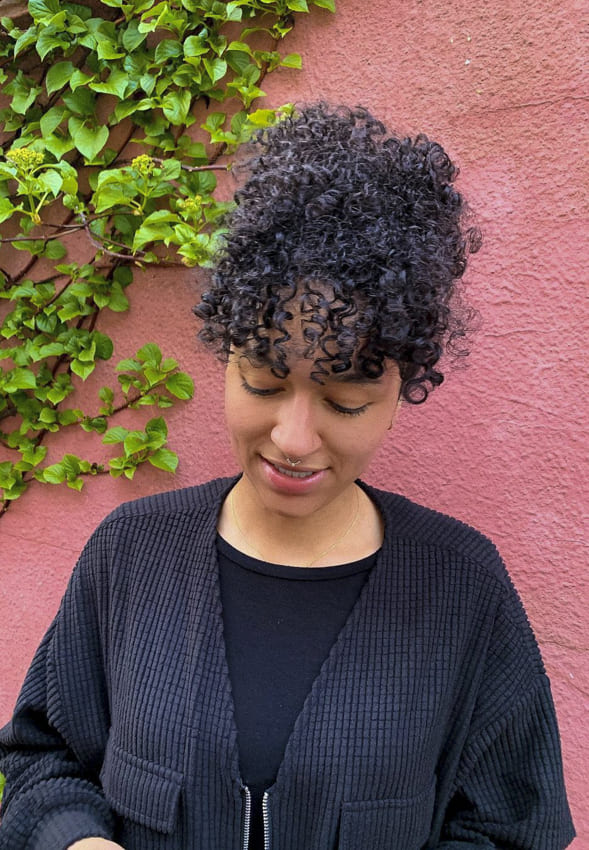 black women curly hairstyles with bangs updos