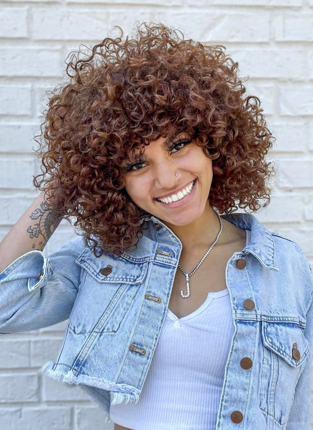 curly red black women hairstyles with bangs