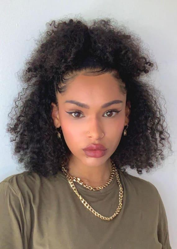 half up half down curly black women hairstyles