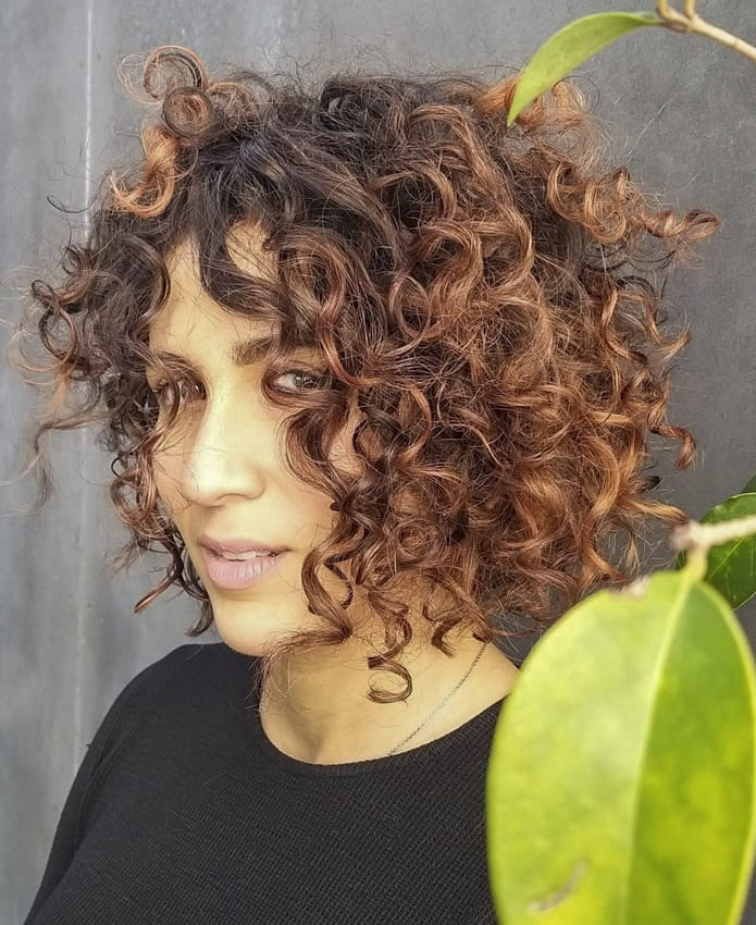 red brown ombre short curly hairstyles