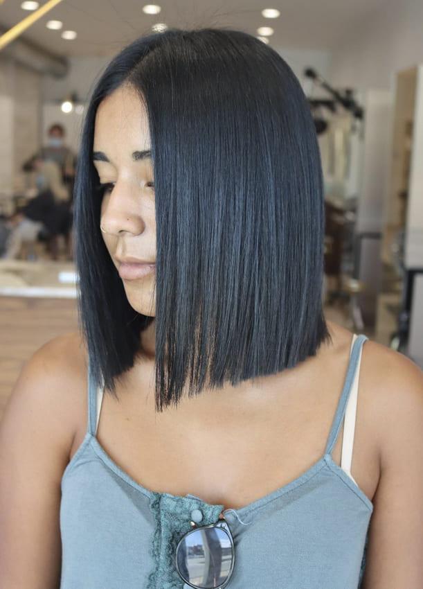 straight short bob black hairstyles