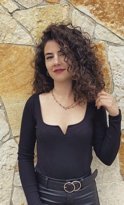 Black side bangs Curly medium hairstyles