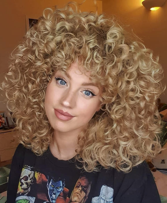 Blonde Curly medium hairstyles