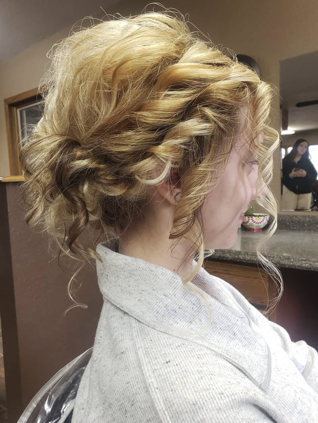 blonde and red ombre updo prom hairstyles