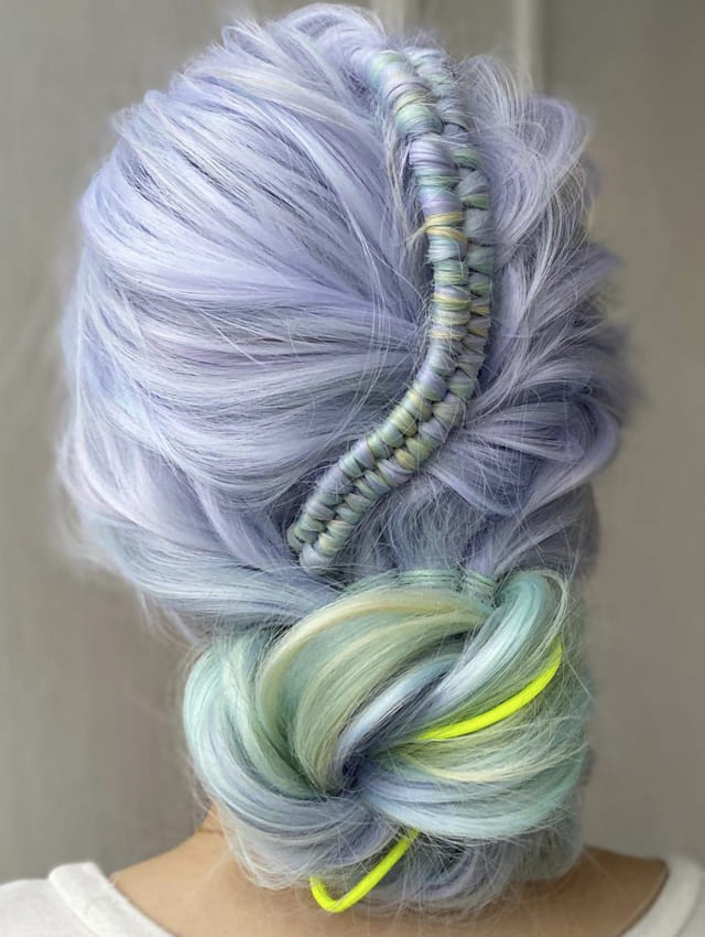 blue purple green updo prom hairstyles