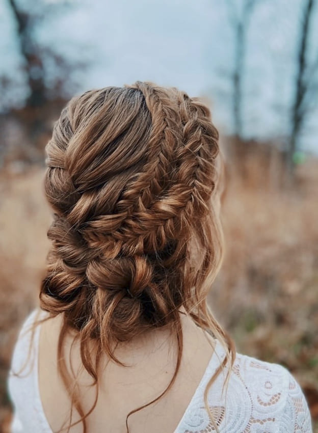 fishtail braided updo prom hairstyles