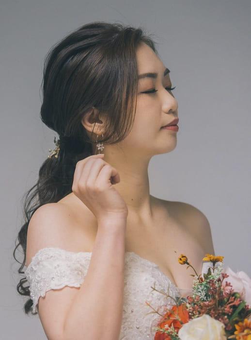 Asian long bridal wedding hairstyles