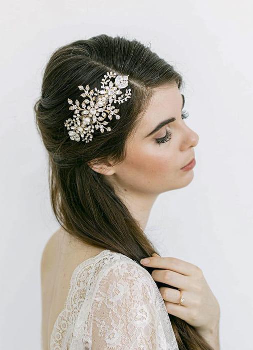 Black natural long bridal wedding hairstyles