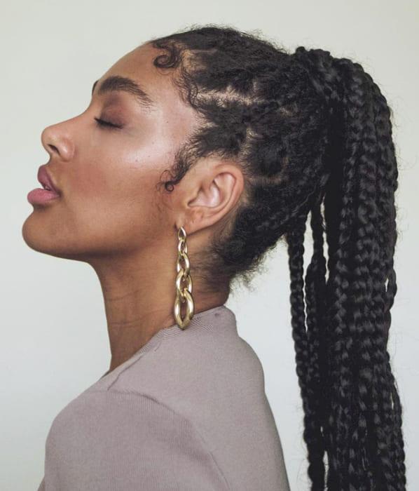 Black women long braided ponytail hairstyles