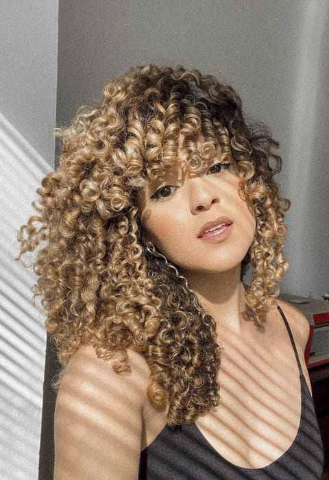 Blonde brown long curly hairstyles with bangs
