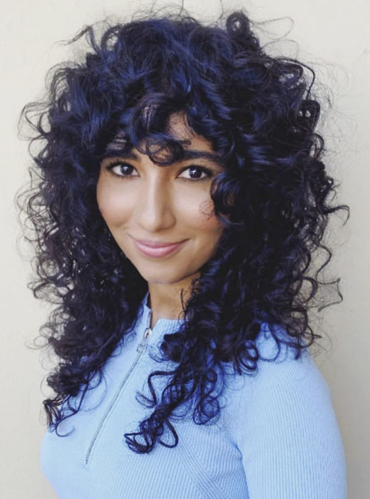 Blue black long curly hairstyles with bangs