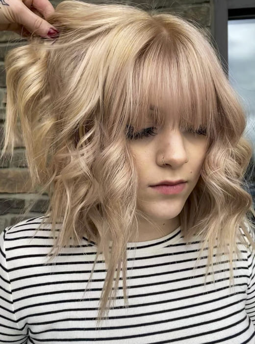 Curly wavy blonde short bob hairstyles