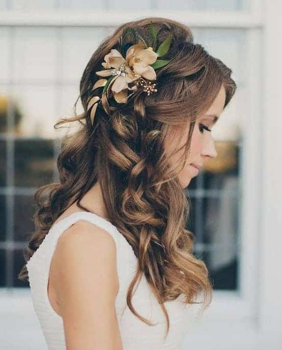 Bridesmaid hairstyles for long hair with flowers
