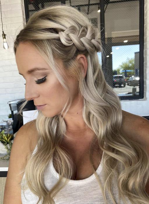 Long Bridal side braided blonde hairstyles