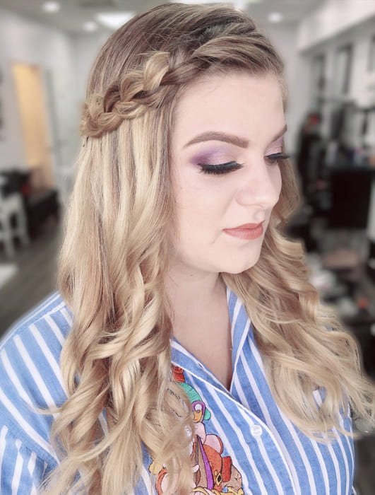 Long blonde wavy side braided hairstyles