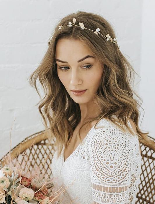 Long natural bridal wedding hairstyles