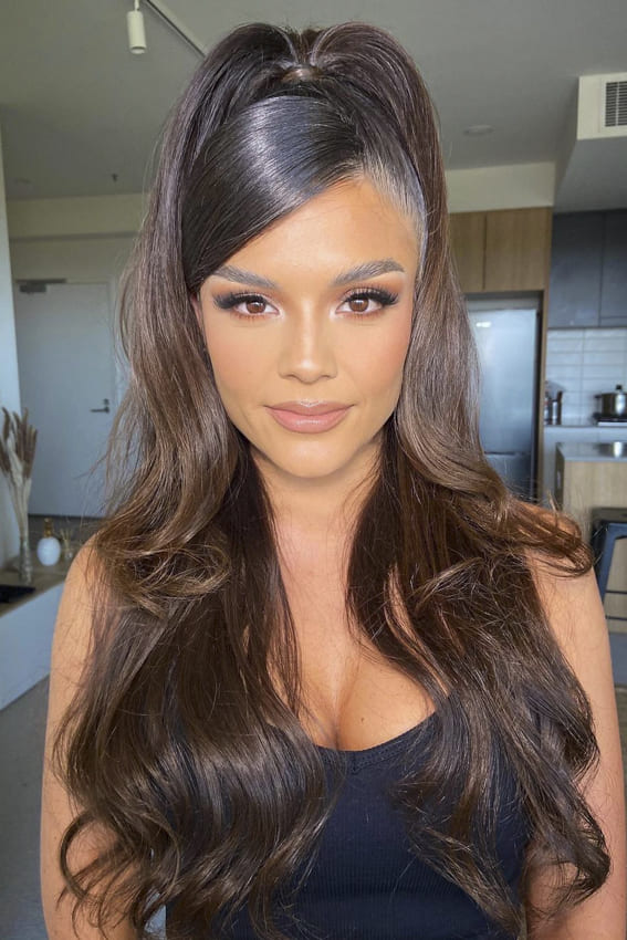 Long ponytail black layered hairstyles
