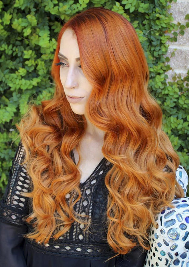 Long red layered wavy hairstyles
