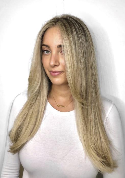 Long straight Side bangs blonde hairstyles