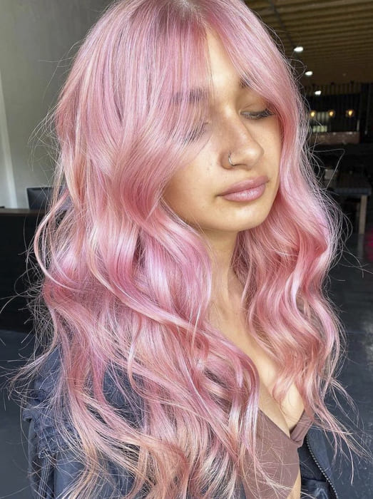 Pink color long wavy hairstyles