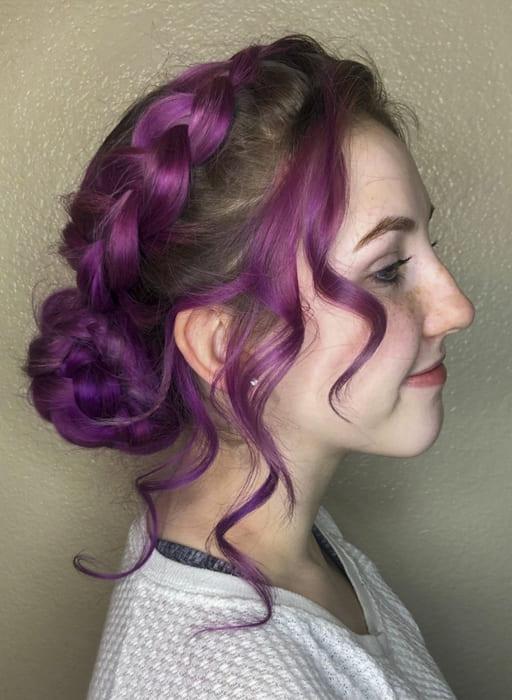 Purple long braid updo bridesmail hairstyles