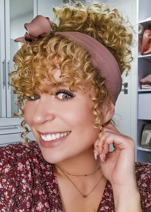 Updo blonde long curly hairstyles with bangs
