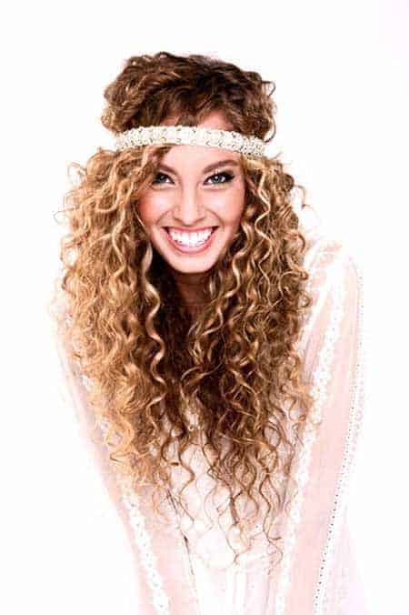 Long Curly Hairstyles with hairband