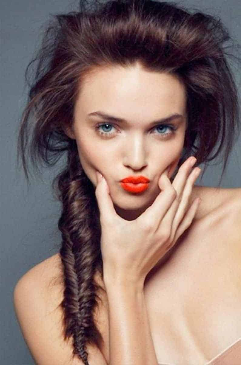 Fishtail french braided hairstyles for long hair