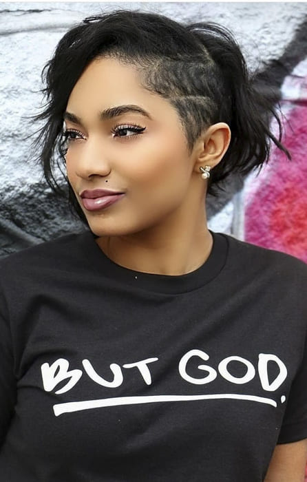 Black women side bang messy hairstyles for short hair