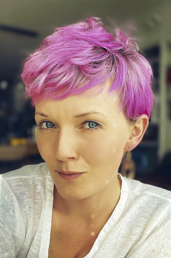 Pink and pixie short layered hairstyles