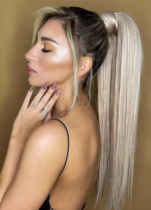 long platinum blonde ombre ponytail hairstyles