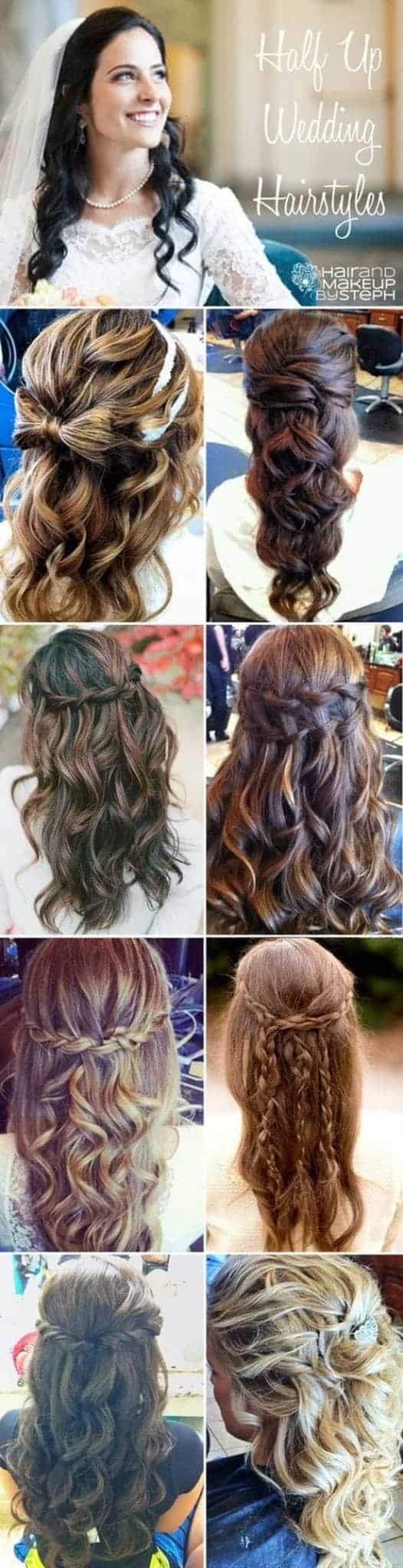 Halp Up Half down Wedding Hairstyles for Different Hair