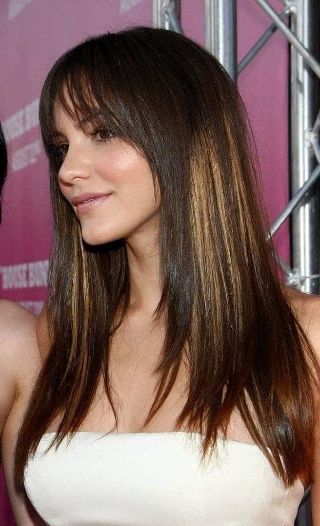 Fringe Straight Medium Hairstyles With Bangs