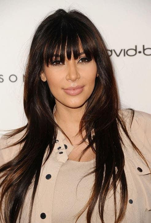 Fringe Hairstyles with bangs Kim Kardashian