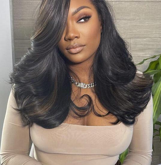 Black women long hair wavy hairstyles with bangs