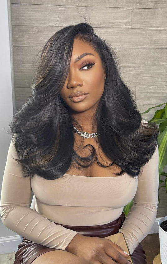 Black women long hair wavy hairstyles with bangs