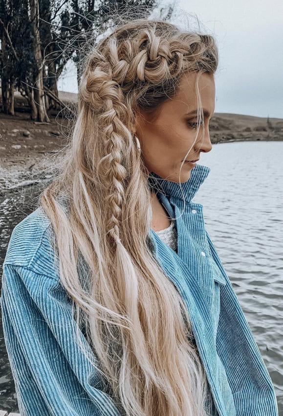Blonde Ombre Side Fishtail Boho Hair