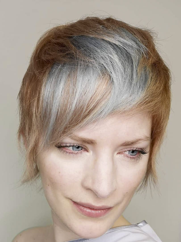 Blonde and grey pixie funk hairstyles