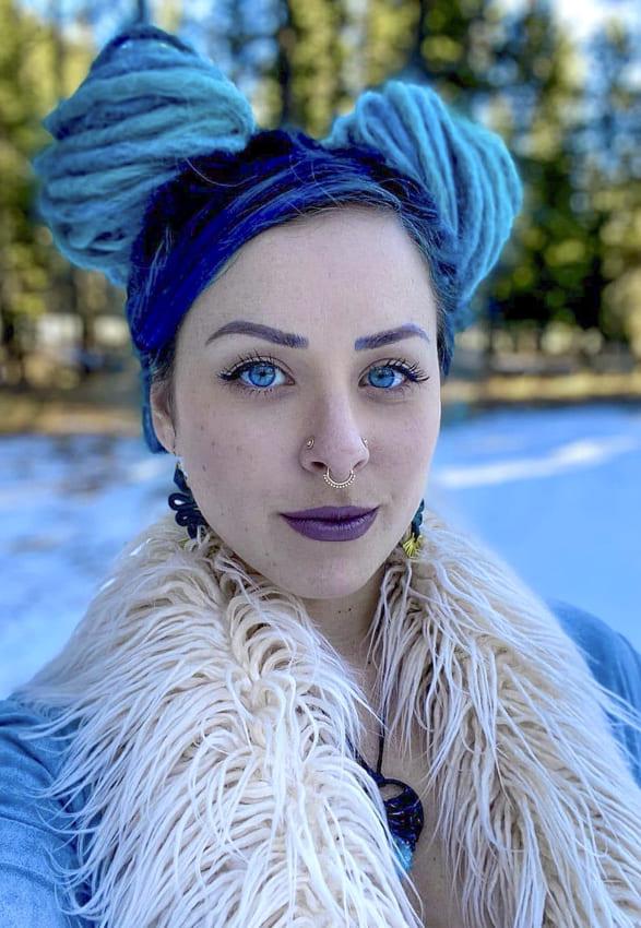 Blue Bun Boho Hair