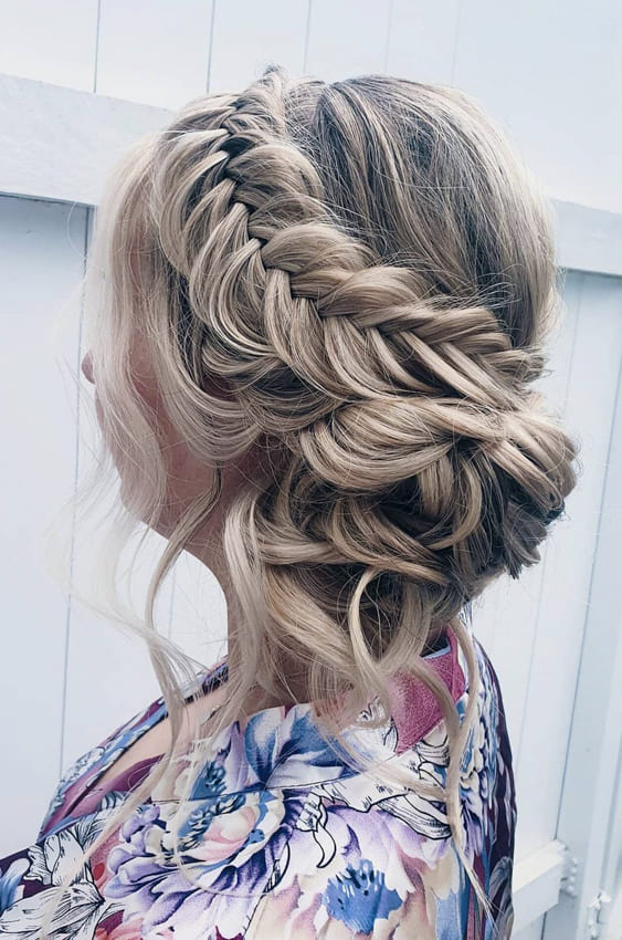 Braided side bun hairstyles for prom