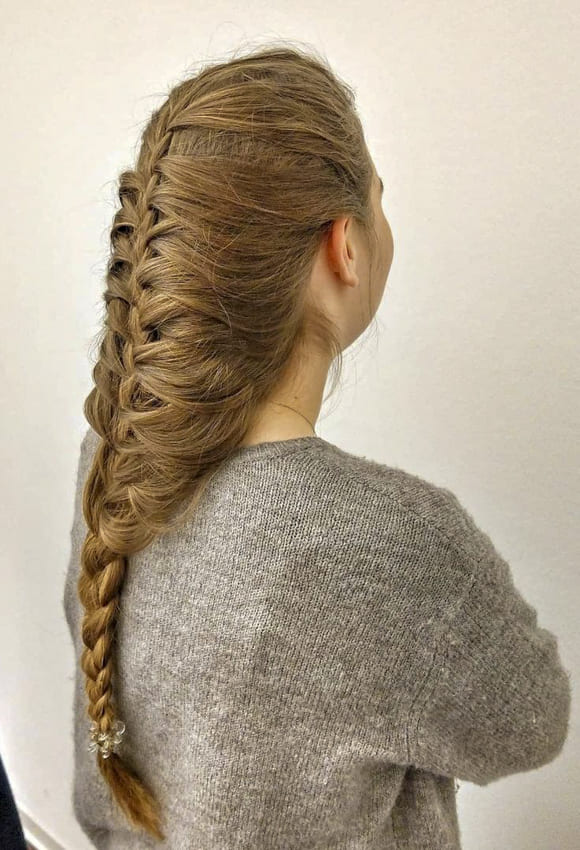 Brown long hairstyles french braids