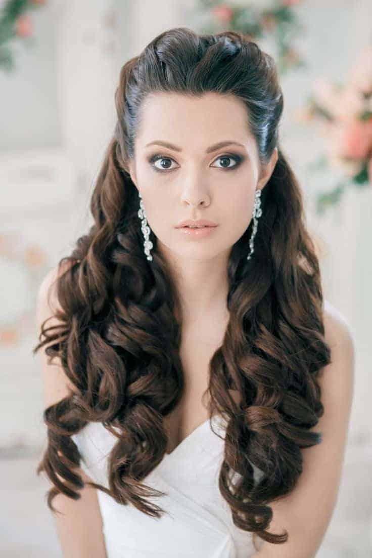 Half up half down wedding hairstyles for brides