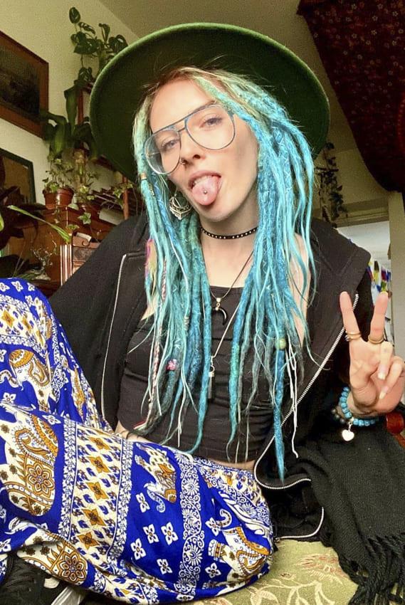 Light Blue Medium Boho Hair