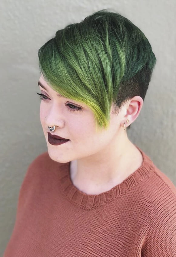 Green pixie hairstyles