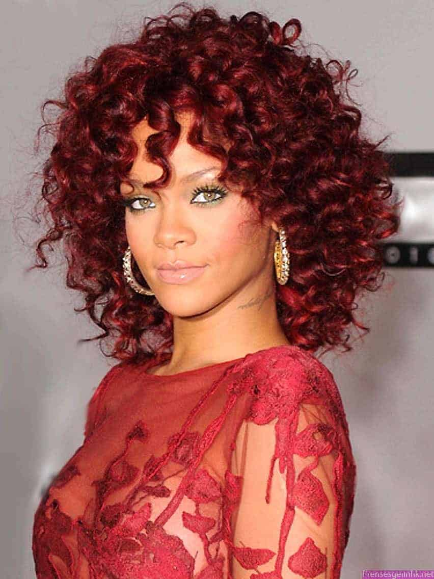 Rihanna curly hairstyles for medium hair red and Black Women