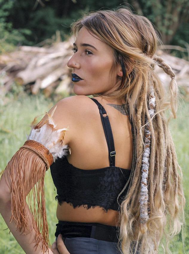Long Brown Cornrow Boho Hair